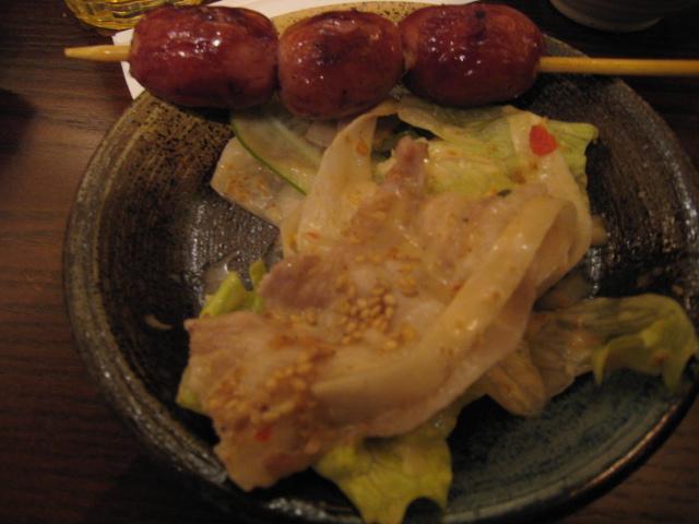 「豚道楽サラダ」と「炭火串焼き」