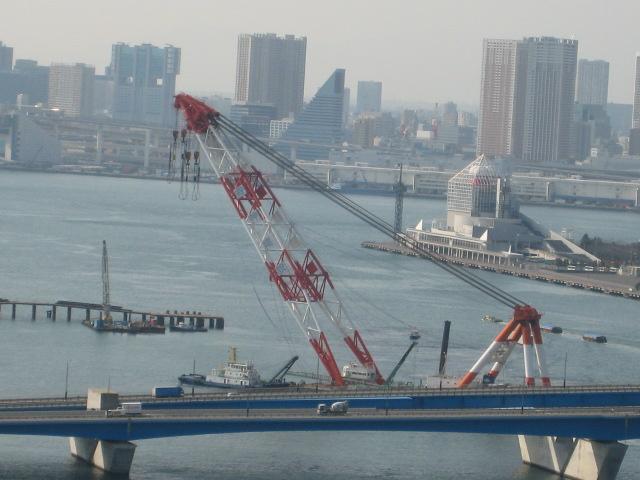 豊洲大橋 工事 大型クレーン船