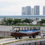 東電堀に水陸両用バス SKY Duck