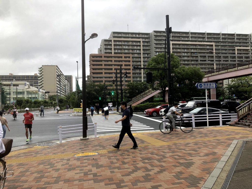 豊洲五中前の横断歩道